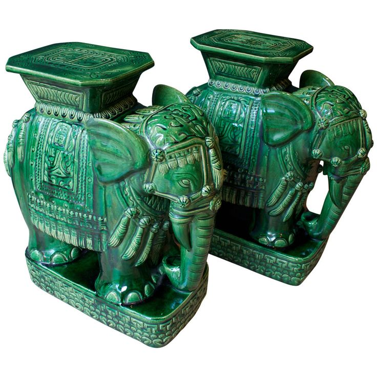 Vintage Ceramic Elephant Garden Stools #4 - Pair Of Mid-Century Elephant Emerald Green Glazed Ceramic Garden Stools