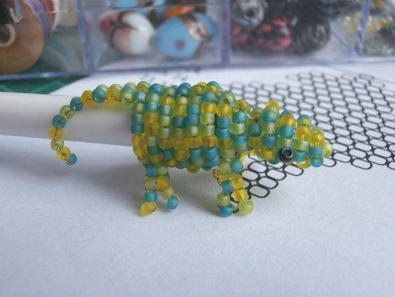 Beaded Chameleon Pen-topper by JacksonsBeadwork on Etsy