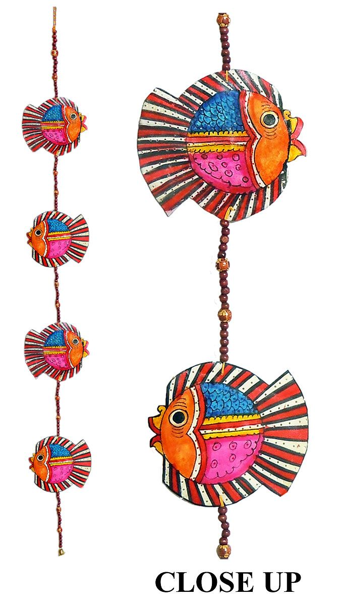 Hand Painted Hanging Fishes with Beads - Perforated Leather Crafts from Andhra Pradesh (Leather)