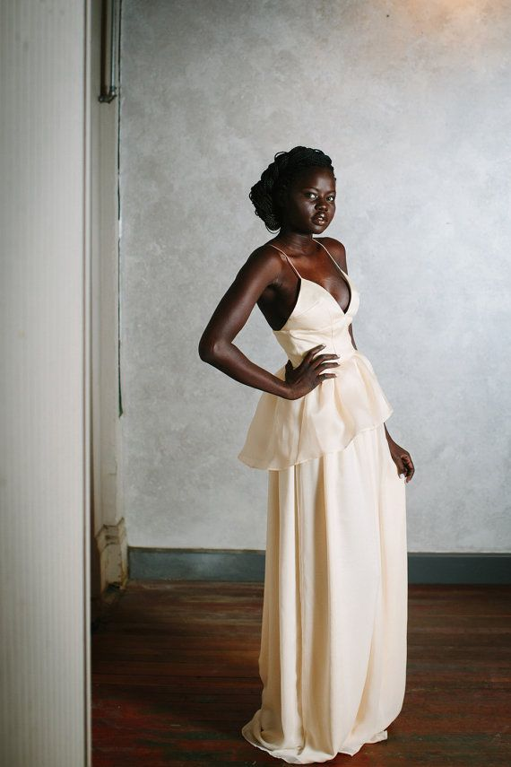 Iris Gown Ecru Silk Chiffon and Organza Peplum
