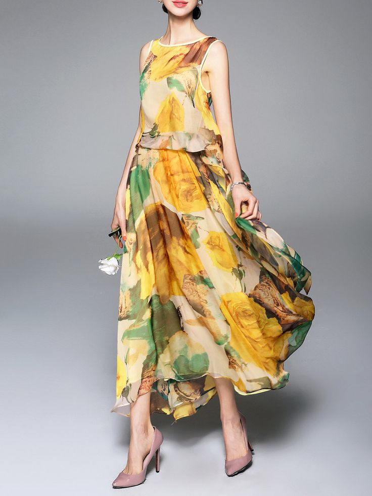 Shop Maxi Dresses - Multicolor Swing Printed Casual Crew Neck Maxi Dress online. Discover unique designers fashion at StyleWe.com.
