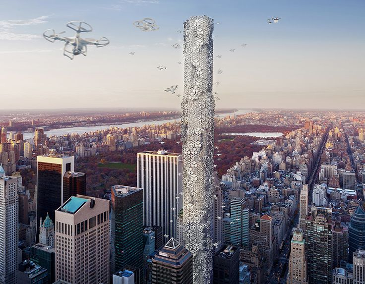 The drones are here. And if it were up to designers Hadeel Ayed Mohammad, Yifeng Zhao and Chengda Zhu, second place winners of the eVolo 2016 Skyscraper Competition, the small flying robots would get a docking station in Manhattan. The proposed Hive at 432 Park Avenue would be a central terminal ...