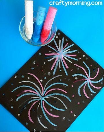 Wet Chalk Fireworks Craft for Kids - Crafty Morning