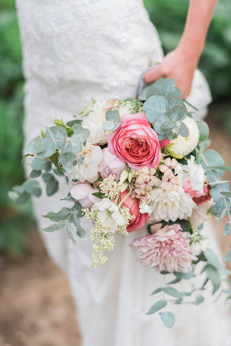 Romantic Pink & Coral Bouquet with Roses & Dahlias | Bride in Lace Enzoani \'Inaru\' Bridal Gown | Peach & Coral Country Wedding at Crabbs Barn, Essex | Kathryn Hopkins Photography | Film by Colbridge Media Services Ltd