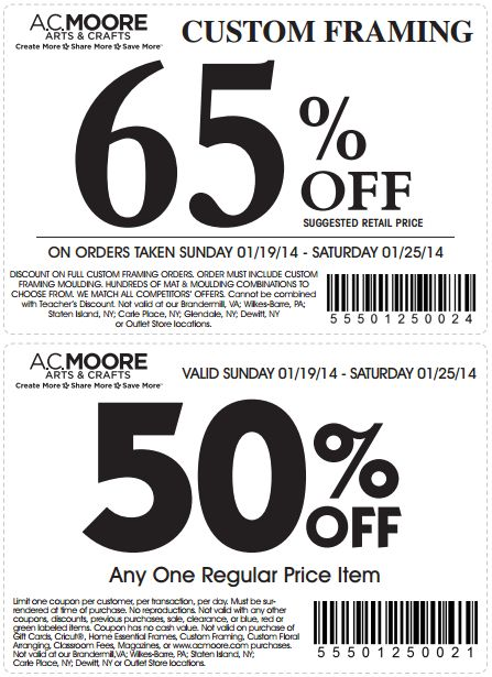 AC Moore- Customers get 65 percent off custom framing or 50 percent off one regular price item at AC Moore with coupon through January 25. See more here: http://www.bestfreestuffguide.com/Free_AC_Moore_Coupons