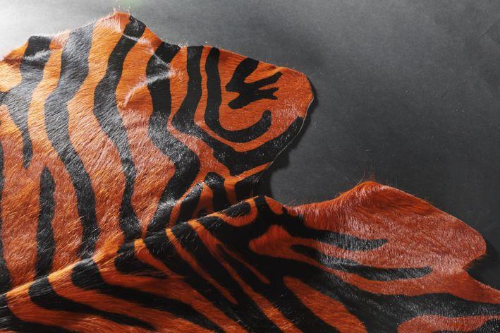 Peau de vache imitation zebre detail printed zebra cowhide orange decoration d tail - Peau de zebre ...