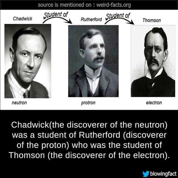 """العالم """"جيمس تشادويك  James Chadwick"""" مكتشف النيوترون في الذرة هو تلميذ """"إرنست رذرفوردErnest Rutherford """" مكتشف البروتون الذي هو تلميذ """"جوزيف جون طومسون Joseph John Thomson"""" مكتشف الإلكترون."""