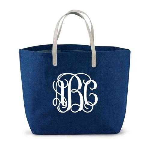 Solid jute tote has vegan leather handles and laminated wipe-clean interior with interior pocket. Perfect for monogramming!. These Tote bags have endless options for monograms - please be specific whe