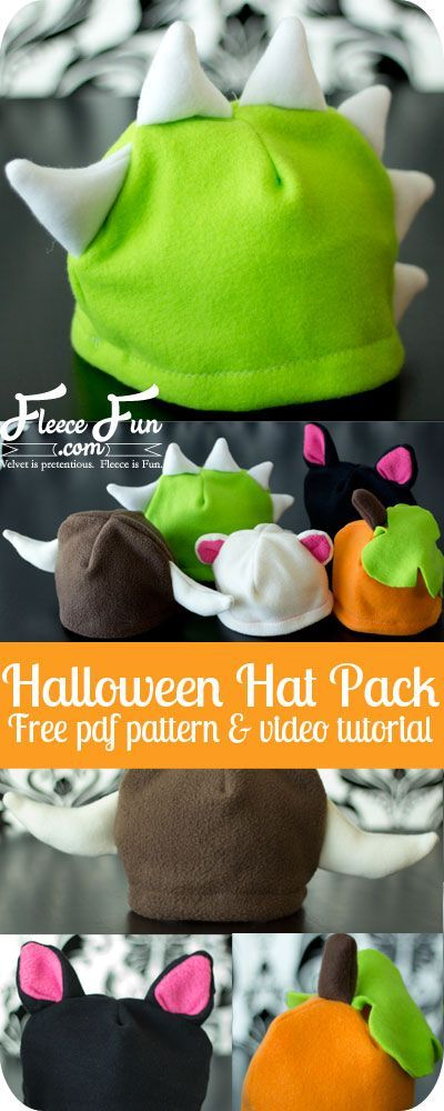 I love these cute (and warm) fleece hats. I bet my kid would wear it not just on Halloween, but all winter long! And there's a video tutorial - just what I need. Great easy sew diy idea.
