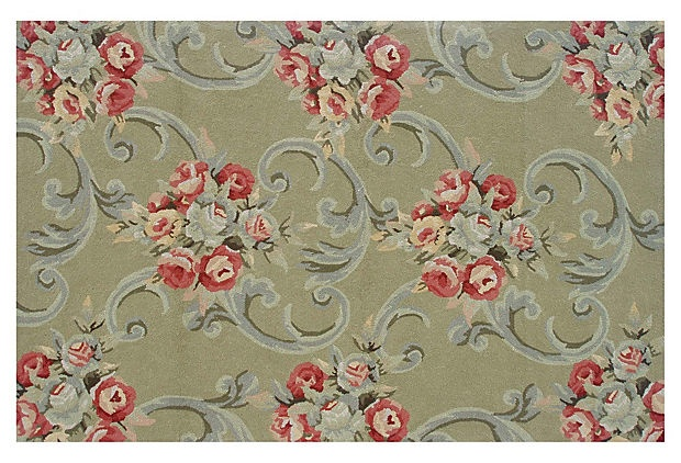 8'x10' Victorian Outdoor Rug, Sage on OneKingsLane.com