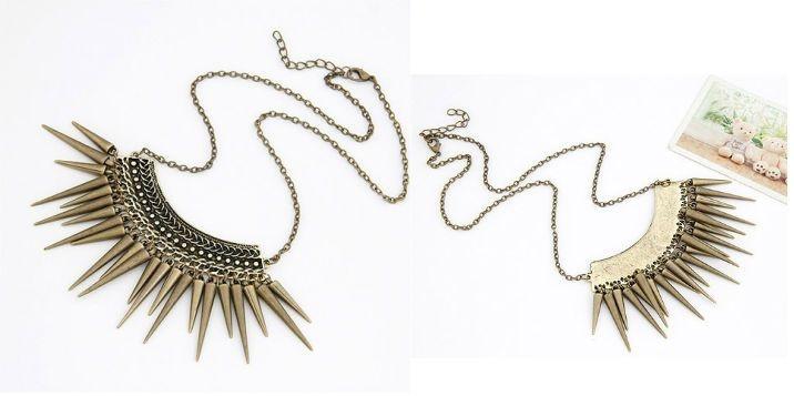 Estilo Vintage de Europa con remache de dorado adornado el collar de metal