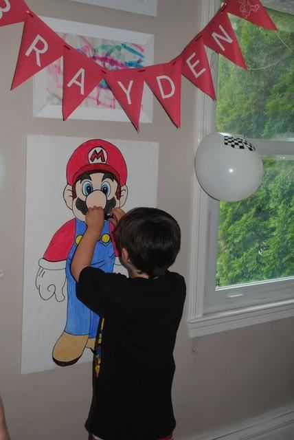 mario party game. Pin the mustache