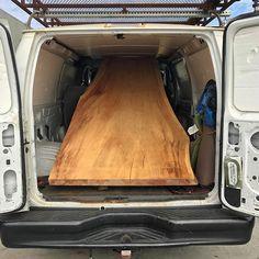 "Talk about maxing out a cargo van..... massive #redwood #slab for my buddy @larkdesignco ...... this thing 40-50""x11', straight beast #slabs #hardwood #lumber #liveedge #woodworker #finefurniture #sandiego #california #design #customfurniture #handmade #modern"