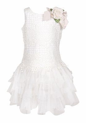 Biscotti Girls Sleeveless Ivory Dress - Fairytale Romance Vintage Lace and Tulle - Rose at Shoulder