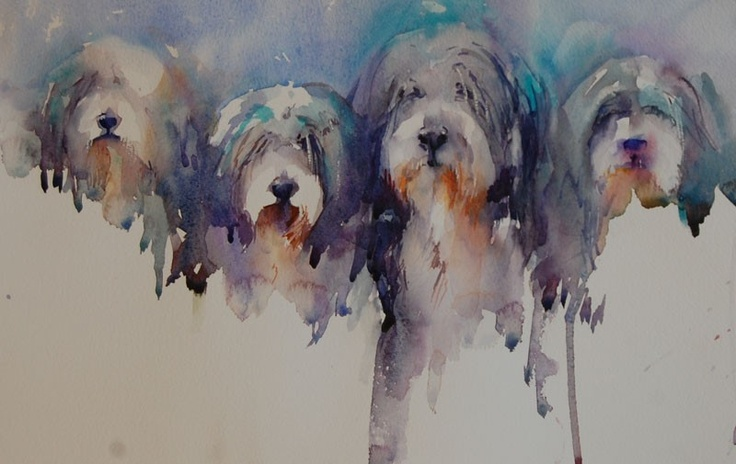 Dogs in Art at the StockBridge Gallery - The Four Amigos Bearded Collie Watercolour Painting by Jean Haines