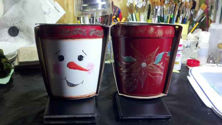 Planters: Christmas Inspiration, This Paper, Christmas Crafts, Folk Art, Strokes Paintings, Decor Paintings, Patterns Vectors Temples Ect, Christmas Planters, Clay Pots