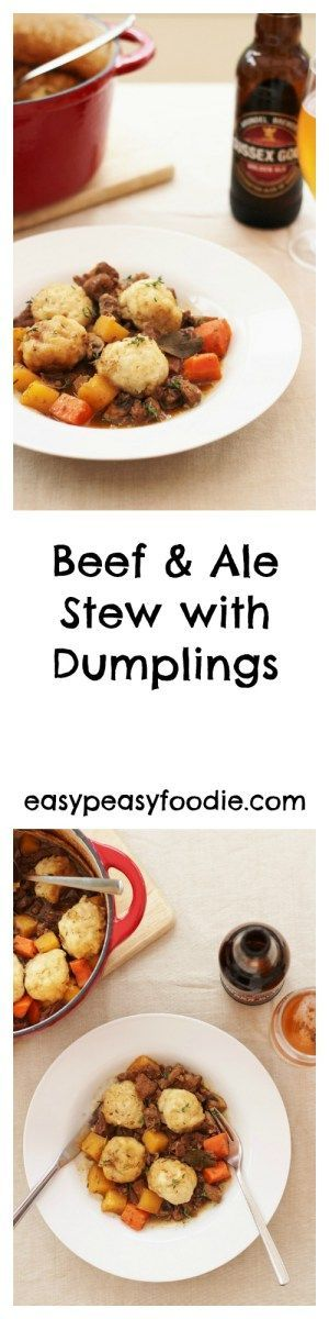 Perfect for chilly winter nights, this easy peasy Beef and Ale stew with Dumplings is a total comfort food classic – the edible equivalent of a great big hug!