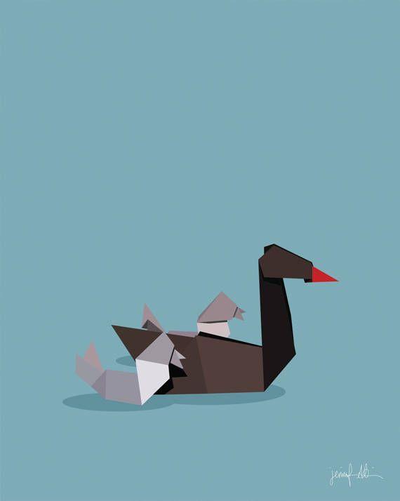 "Black swan print Origami art Nursery decor Blue wall art Black USE THE CODE ""PINTEREST"" TO RECEIVE 30% OFF!"