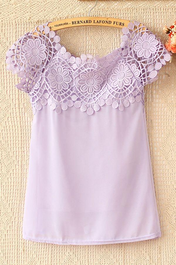 Romantic Floral Crochet Blouse - blusa de encaje OASAP.com