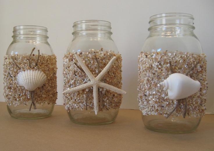 Mason jars seashell covered summer wedding beach