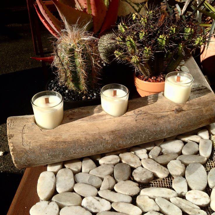 Wooden candle display! Handmade everything!