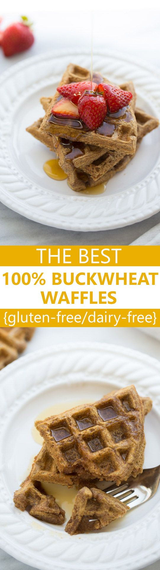 The Best 100% Buckwheat Waffles! Light, crispy and delicious - but packed with protein, fiber and nutrients! {Gluten & Dairy-Free}