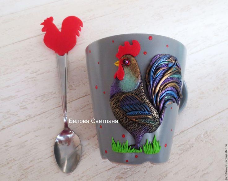 Купить Кружка и ложка Петух из полимерной глины - серый, красный, петух, петушок, петух на кружке