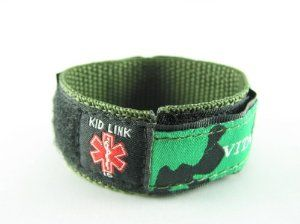 """Camo Green, Childs, Kids Medical ID Bracelet, Adjustable for Boys & Girls, Free Medical Wallet Card Incld. Kid Link. Save 32 Off!. $12.99. Kids Medical Bracelet; Fits a wrist of 5"""" - 6.5"""" inches.; Includes 2 Medical ID Tabs; Washable; Hidden Pocket holds the ID tab"""