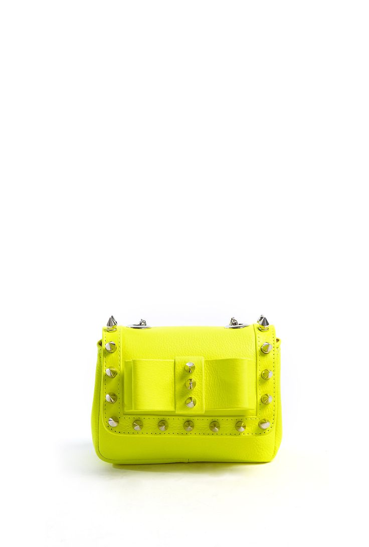 Neon Yellow 'Spike Me' Mini Bag With Silver Studs by AILA