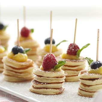 Mini Pancake Stacks with different fruits on top. Perfect mini entrees! (just realized we won't be providing food but still a good idea)