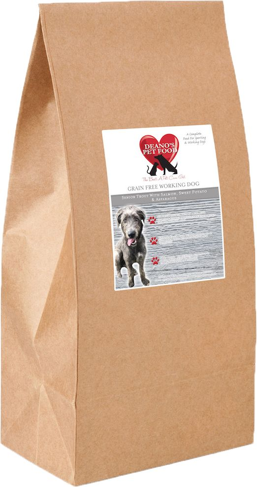 Deano's Grain Free Complete Senior Dog Food - Trout with Salmon, Sweet Potato and Asparagus