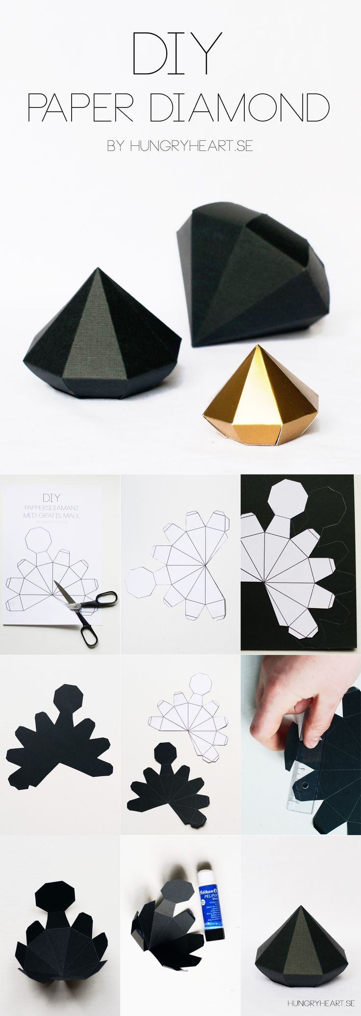 Tendance & idée Joaillerie 2016/2017 Description DIY Paper Diamond Step-by-Step Tutorial with FREE Template | HungryHeart.se