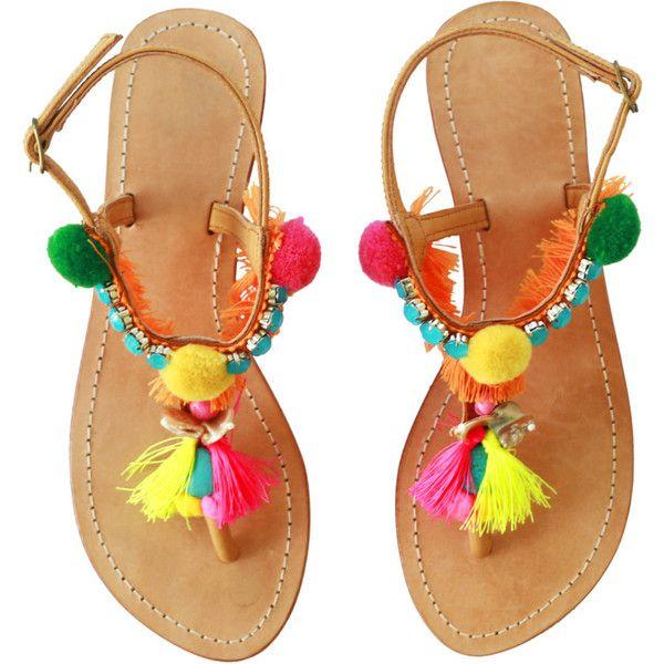 72d00024911a PomPom Sandals  Decorative PomPom sandal  Bohemian pom pom beach... ( 95) ❤  liked on Polyvore featuring shoes