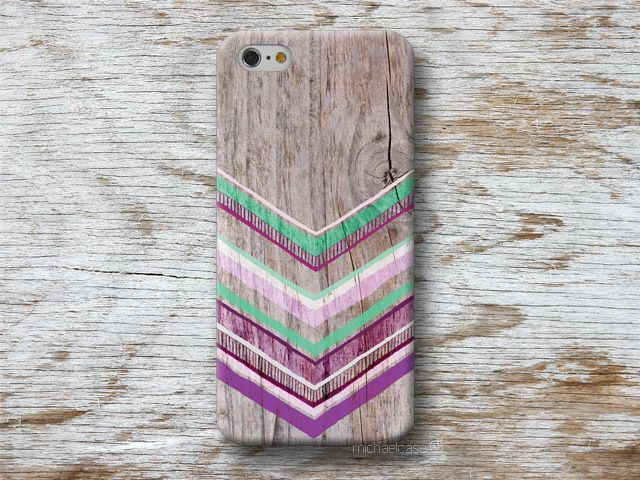 Handytaschen - Chevron Holz Mint Lila iPhone Hülle Sony s4 s5 s6 - ein Designerstück von michaelcase bei DaWanda