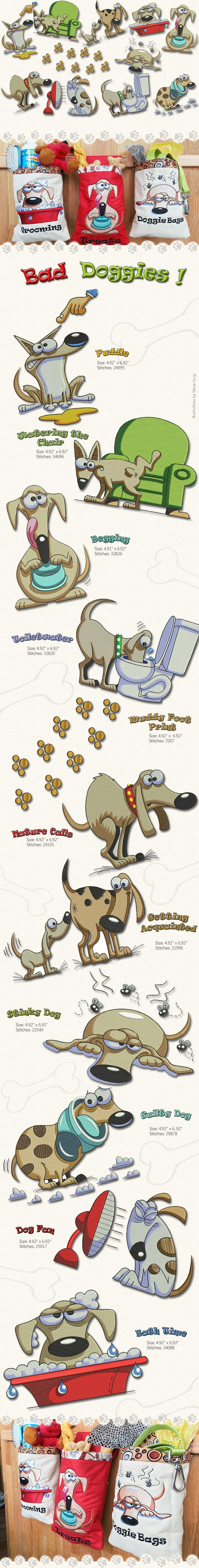 Bad Doggies !!!  Beautiful Embroidery designs from Steve Gray, colorful and very funny, this collection describe them is every step !!!  A Dog is the only thing on earth that loves you more than he loves himself........  Thread Available here!