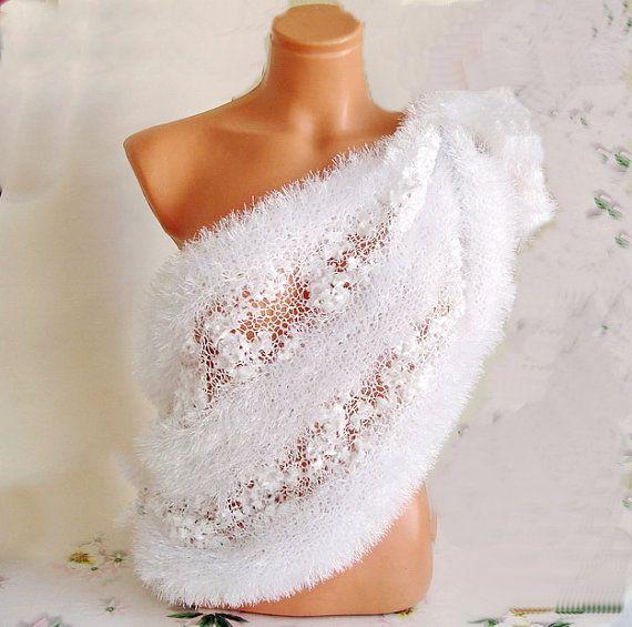 off white Wedding Wrap Shrug Shawl Soft Fluffy  by boutiqueseragun, $62.00