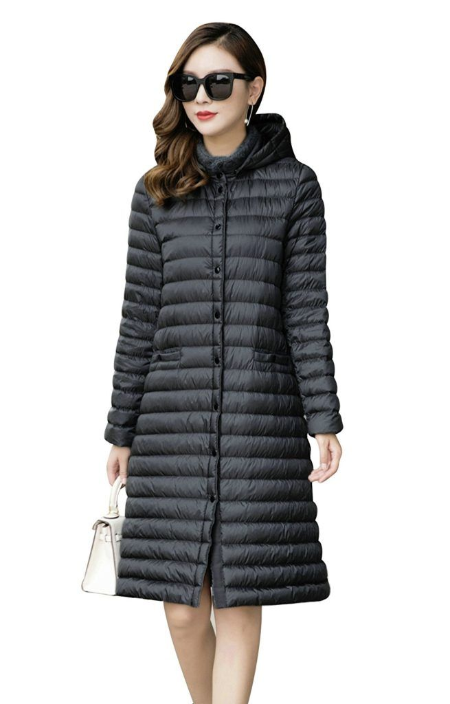 cb17325bffd Elfjoy Women s Long Down Coat Packable Ultra Lightweight Jacket Detachable  Hooded Coat Winter Outwear