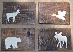 "Rustic Reclaimed Wood - Woodland Animals - Set of 4 - Rustic Nursery Decor - Planked - Grizzly bear, moose, duck, deer - 5.5x8"" by DevenieDesigns on Etsy https://www.etsy.com/listing/185718910/rustic-reclaimed-wood-woodland-animals"