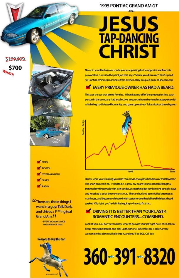 LOL best ad EVER: Craigslistad, Craigslist Ad, Jesus Christ, Cars, Funny Stuff, Tap Dancing Christ, Jesus Tap Dancing