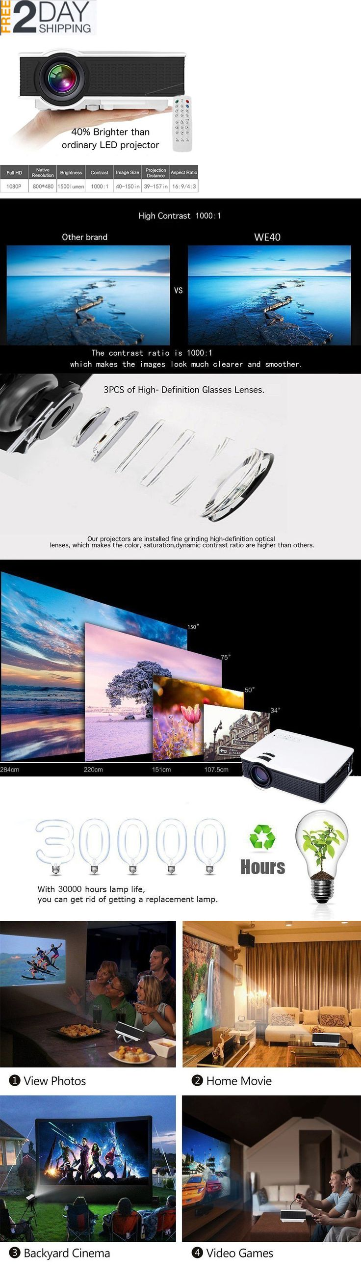 Projection Screens And Material Outdoor Movie Screen Portable Video Projector Home Hdmi 1500 Lumens