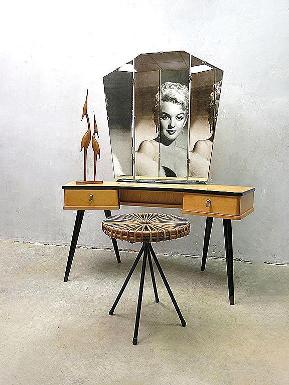Vintage dressing table vanity table sixties Dutch design kaptafel midcentury modern retro interior make up fifties style loft