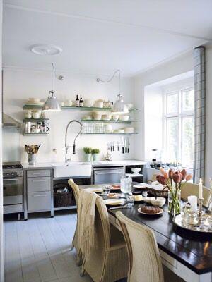 Open kitchen in steel.