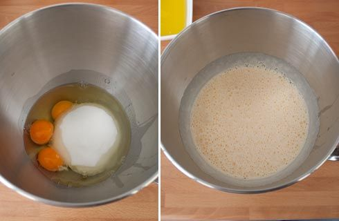 Batir los huevos para hacer las magdalenas caseras