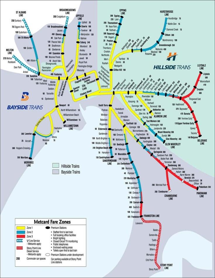 Melbourne Rail Map.