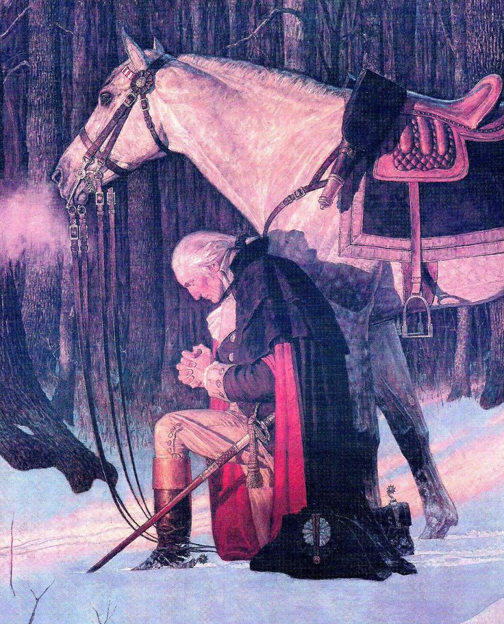 "I love this painting of George Washington http://pinterest.com/pin/24066179230806784 in prayer at Valley Forge during the American Revolutionary War. What a good example of an honorable leader who recognized his need to rely on a power greater than himself in the performance of his duty and defending the noble cause of liberty. ""In God we trust."""