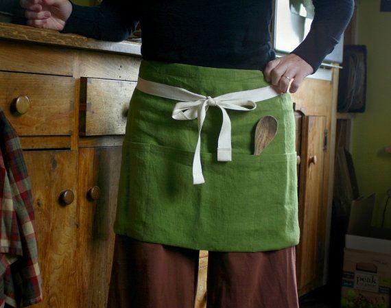 Cafe Apron with Pockets- Heavyweight 100% Linen- Multi-Purpose Waist Apron