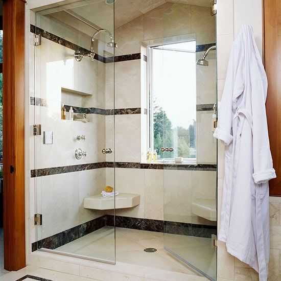 Two Person Shower Rooms Light Building Black Tiles And