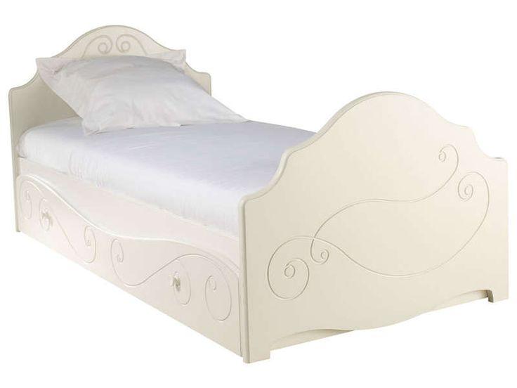 Lit 90 cm (tiroir-lit en option) ALICE coloris décor laqué blanc - Vente de Lit enfant - Conforama