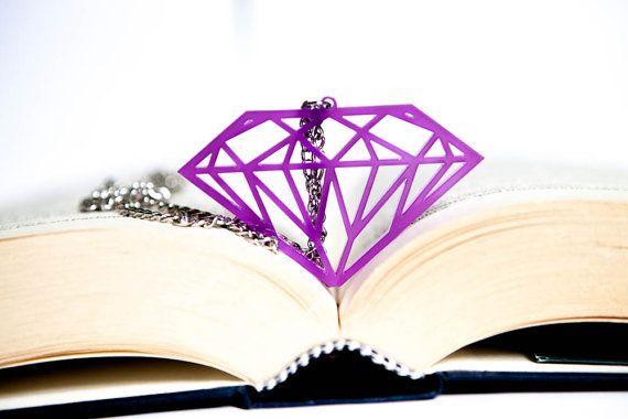 Diamond Necklace purple transparent Plexiglass di PasBijoux