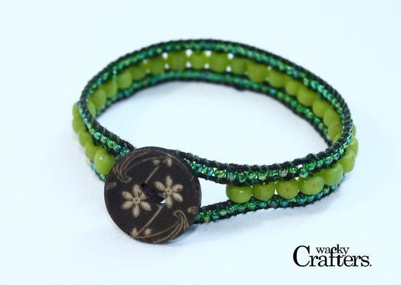 Apple Green Beaded Boho Bracelet Handmade by WackyCrafters on Etsy, $17.00